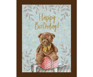 gifts, soft colors, and teddy bear image