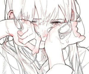 art, girl, and crying image