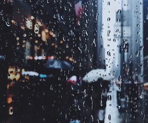 rain, city, and people image