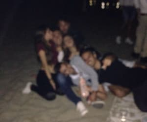 friends, night, and beach image