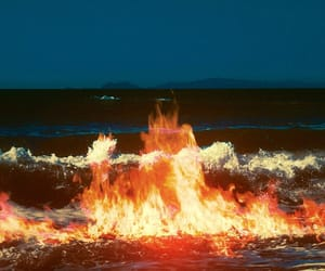 fire, flame, and ocean image