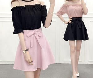black, skirt, and pastel pink image