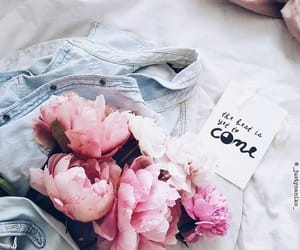 peonies, flowers, and jeans image