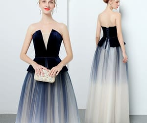 evening dress, long dress, and strapless dress image
