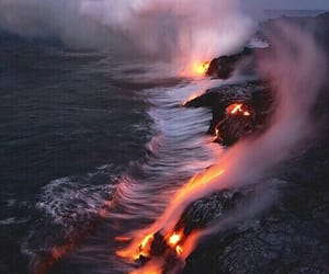 nature, lava, and water image