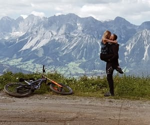 bike, couple, and mountains image
