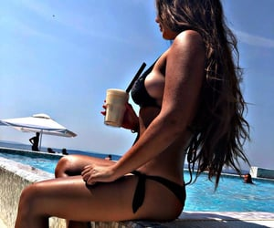 beach, drink, and long hair image