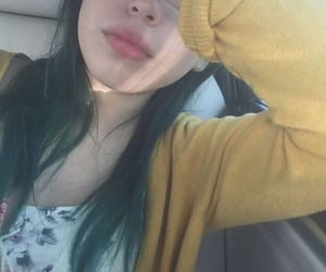 blue hair, dyed hair, and green hair image