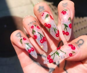 nails, cherry, and cute image