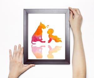 baby, dog, and bull terrier image