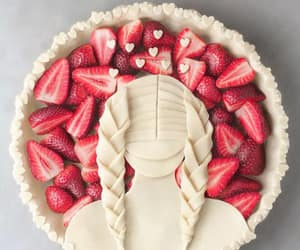 pie, french braids, and strawberry image