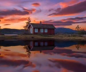 house, lake, and sunset image