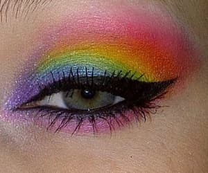 beauty, make up, and rainbow image