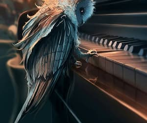 owl, art, and piano image