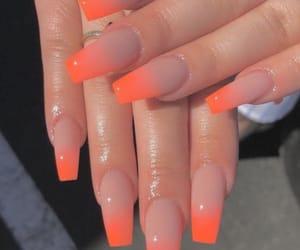 nails, orange, and acrylic image