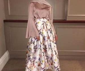 fashion, floral, and hijab image