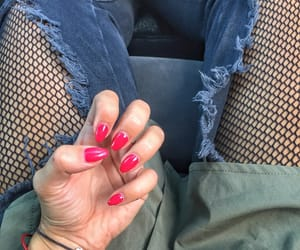 converse, red nails, and fashion image