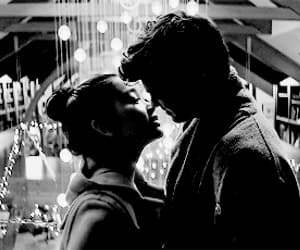 black and white, couple, and movie image