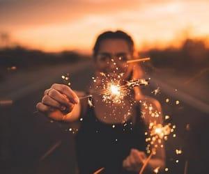 light, girl, and sunset image