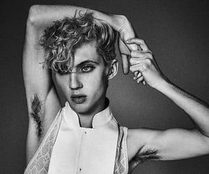 armpit hair, black and white, and man fashion image