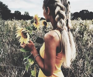 fashion, girl, and sunflower image