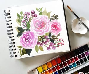 art, draing, and flower image
