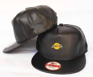 los angeles lakers, nba hats, and all leather image
