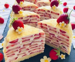 cake, crepes, and fruit image