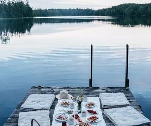 food, lake, and picnic image