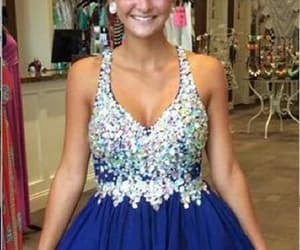 blue homecoming dress, chiffon prom dresses, and v-neck prom dresses image