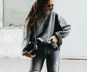 brunette, fashion, and sweater image