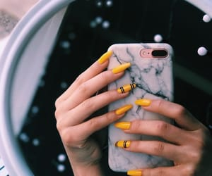 nails, iphone, and yellow image