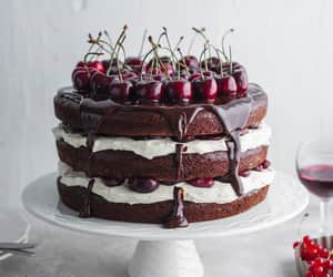 baking, black forest cake, and cherries image