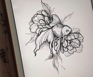 drawing, fish, and flowers image