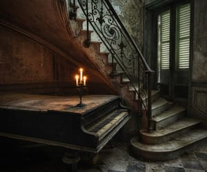 abandoned, piano, and mansion image