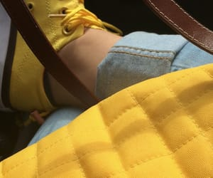 converse, jeans, and yellow image