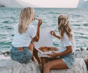 beach, pizza, and girl image