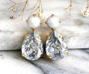 dusty blue, pearl earrings, and gift for her image