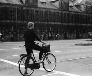 black and white, bike, and girl image