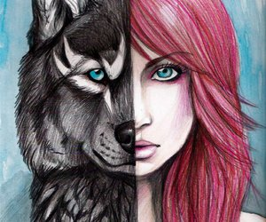art, girl, and wolves image