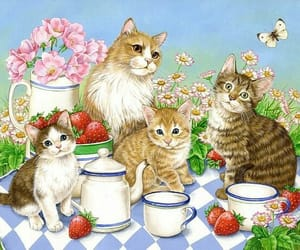 cats, pic nic, and tea image