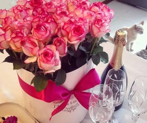 birthday, bottle, and bouquet image