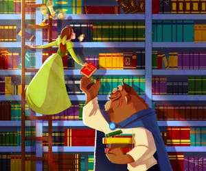 belle, disney, and books image