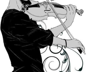 anime, blackwhite, and violin image