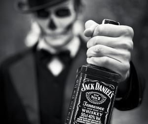 jack daniels, whiskey, and black and white image