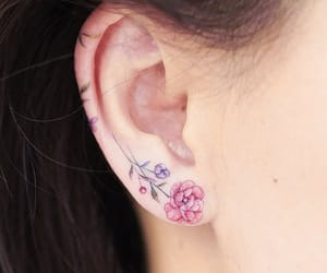 ear, flowertattoo, and flower image