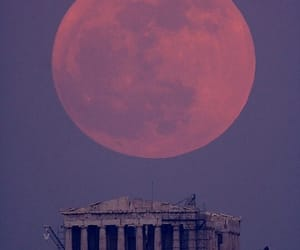 moon, Greece, and Athens image
