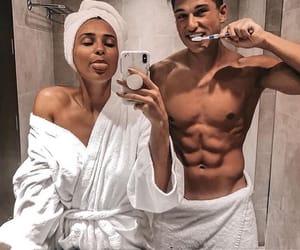 couple, cute, and bathroom image