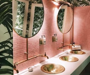 bathroom, interior, and pink image