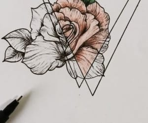drawing, rose, and tattoo image